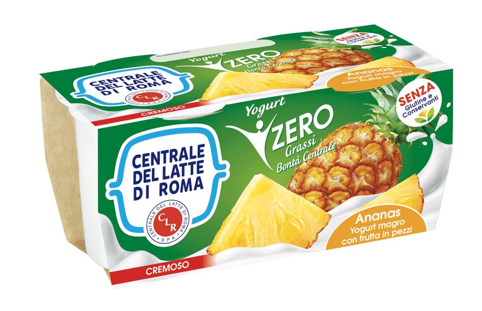 Yogurt cremoso magro ananas con frutta in pezzi Centrale Del Latte Di Roma