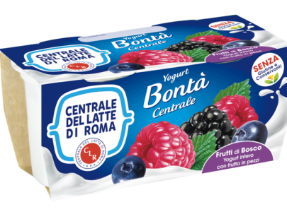 Yogurt intero frutti di bosco con frutta in pezzi Centrale Del Latte Di Roma
